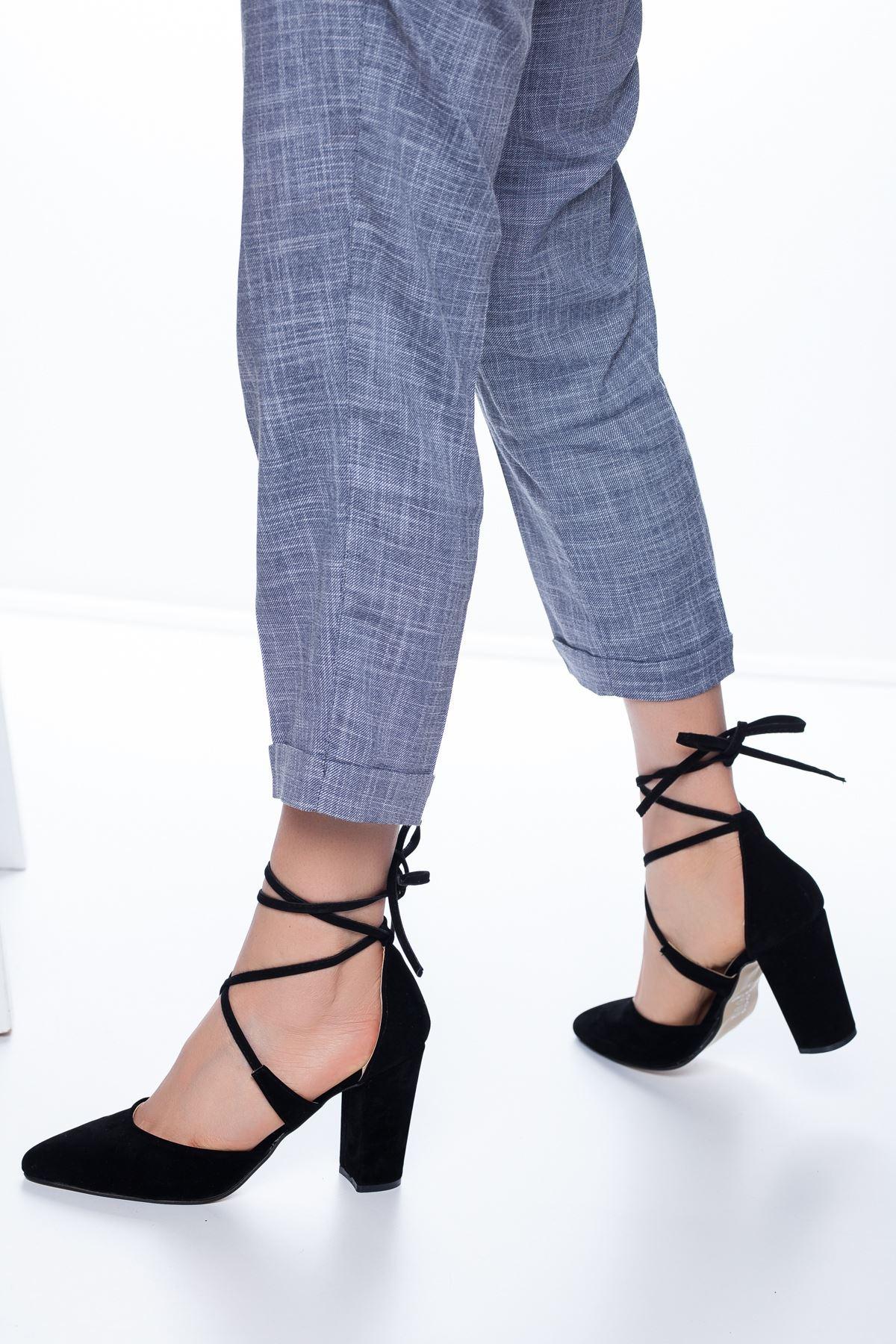 Femilla Topuklu Süet Ayakkabı Siyah