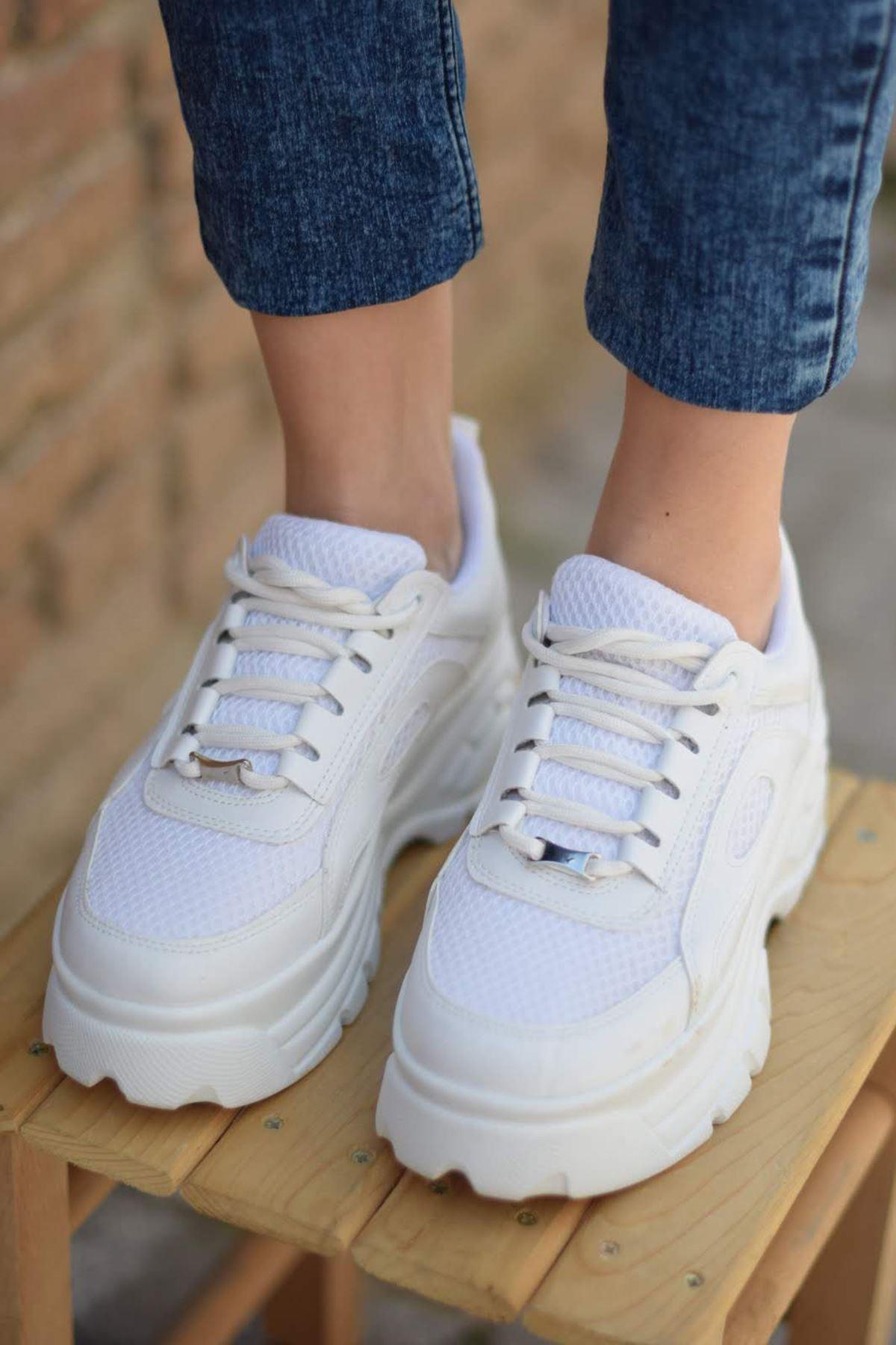 Jordan Fileli Sneakers Beyaz Fileli