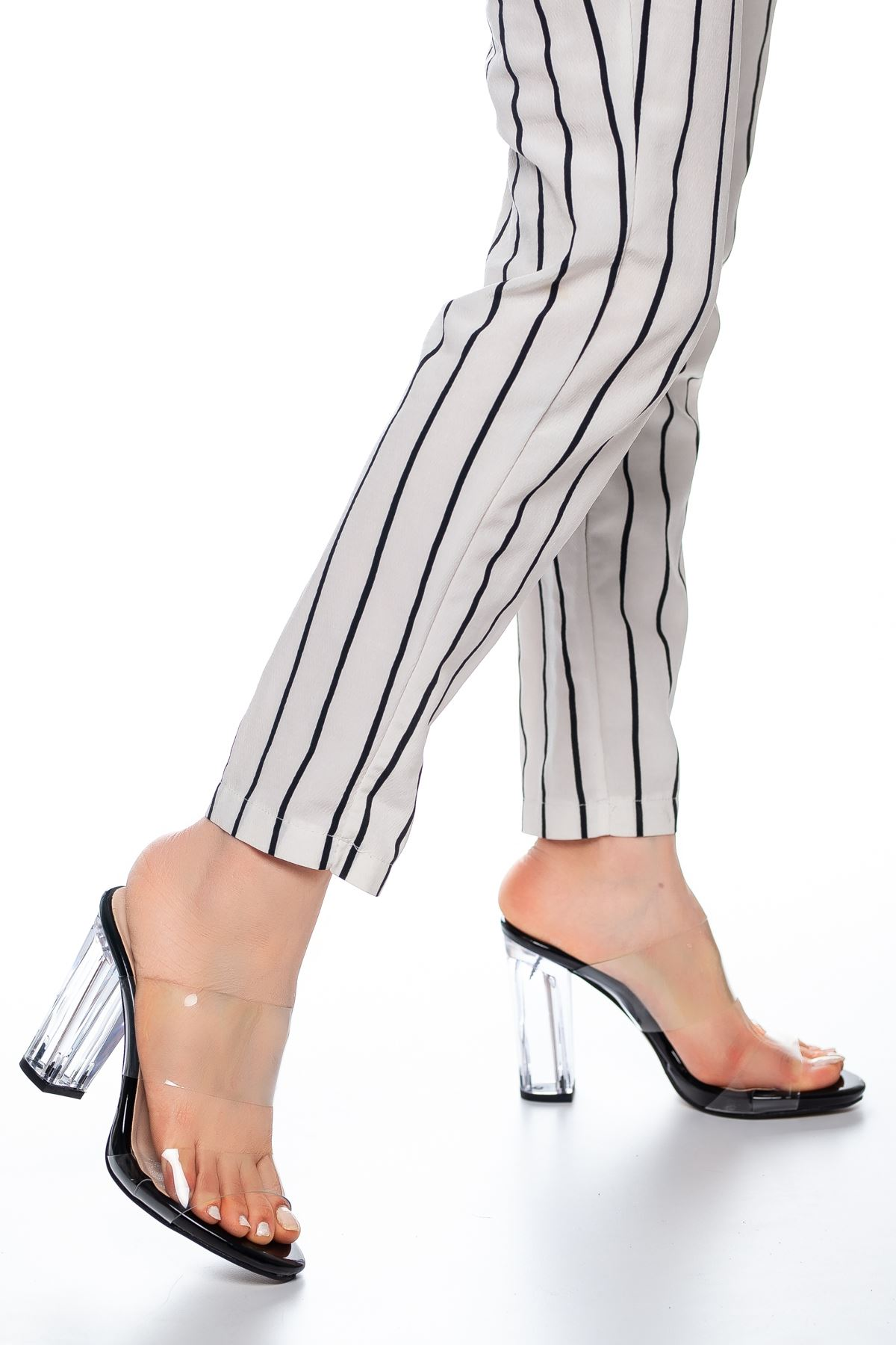 Felis Şeffaf Bantlı topuklu ayakkabı Siyah