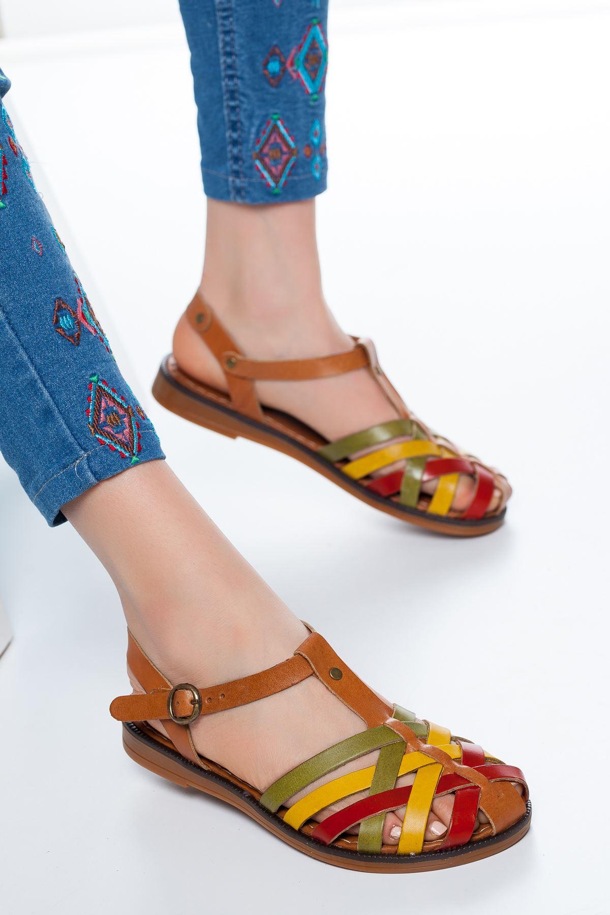 Flora  Deri Sandalet Multi