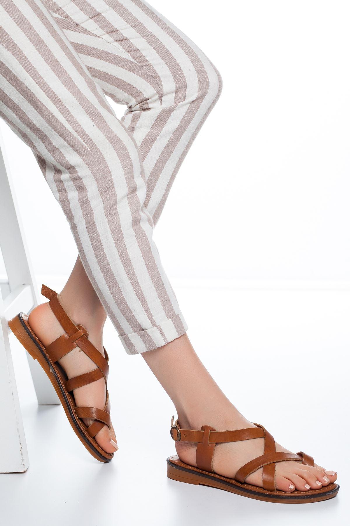 Elsa Deri Parmak Arası Sandalet Taba