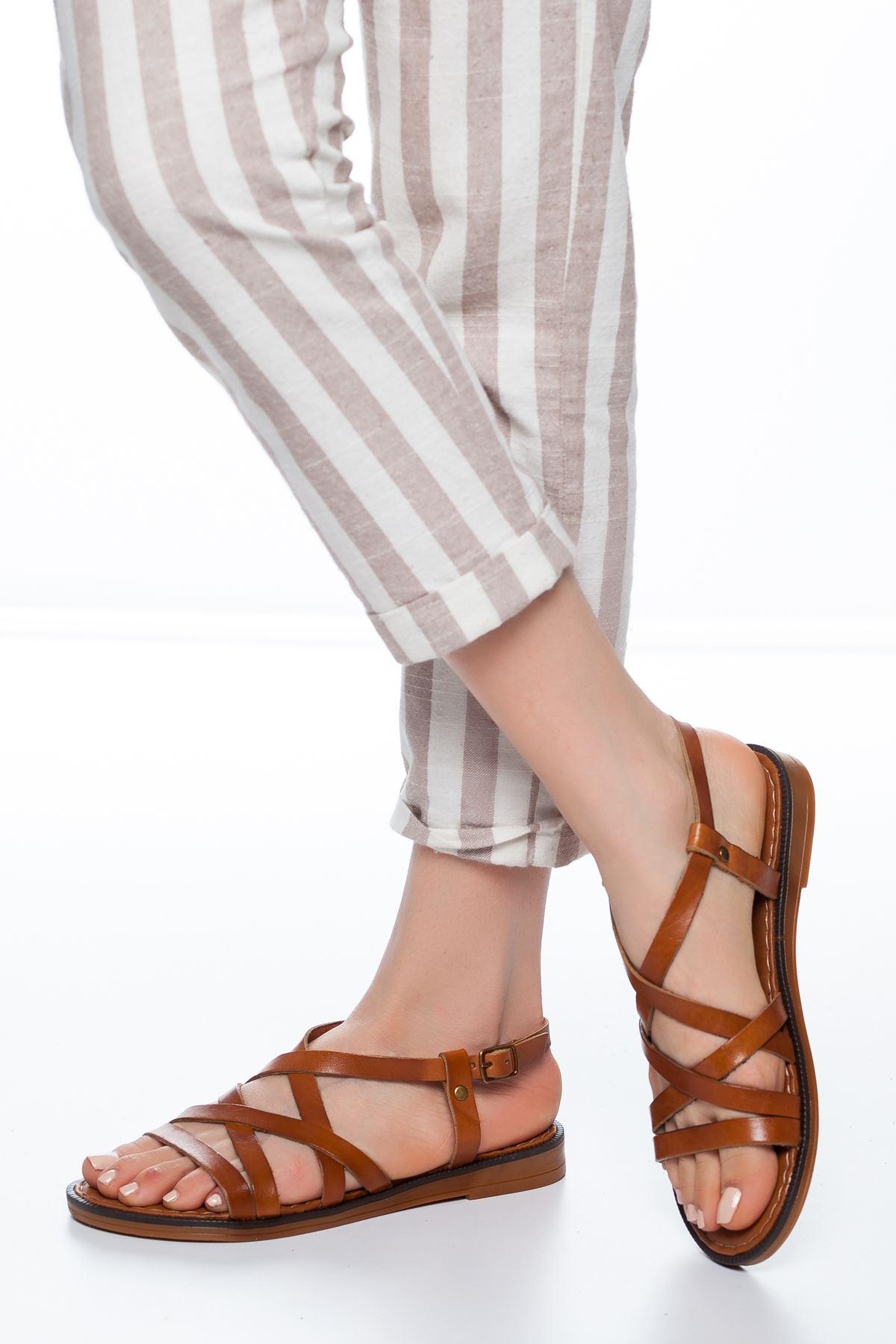 Ezra Deri Sandalet Taba