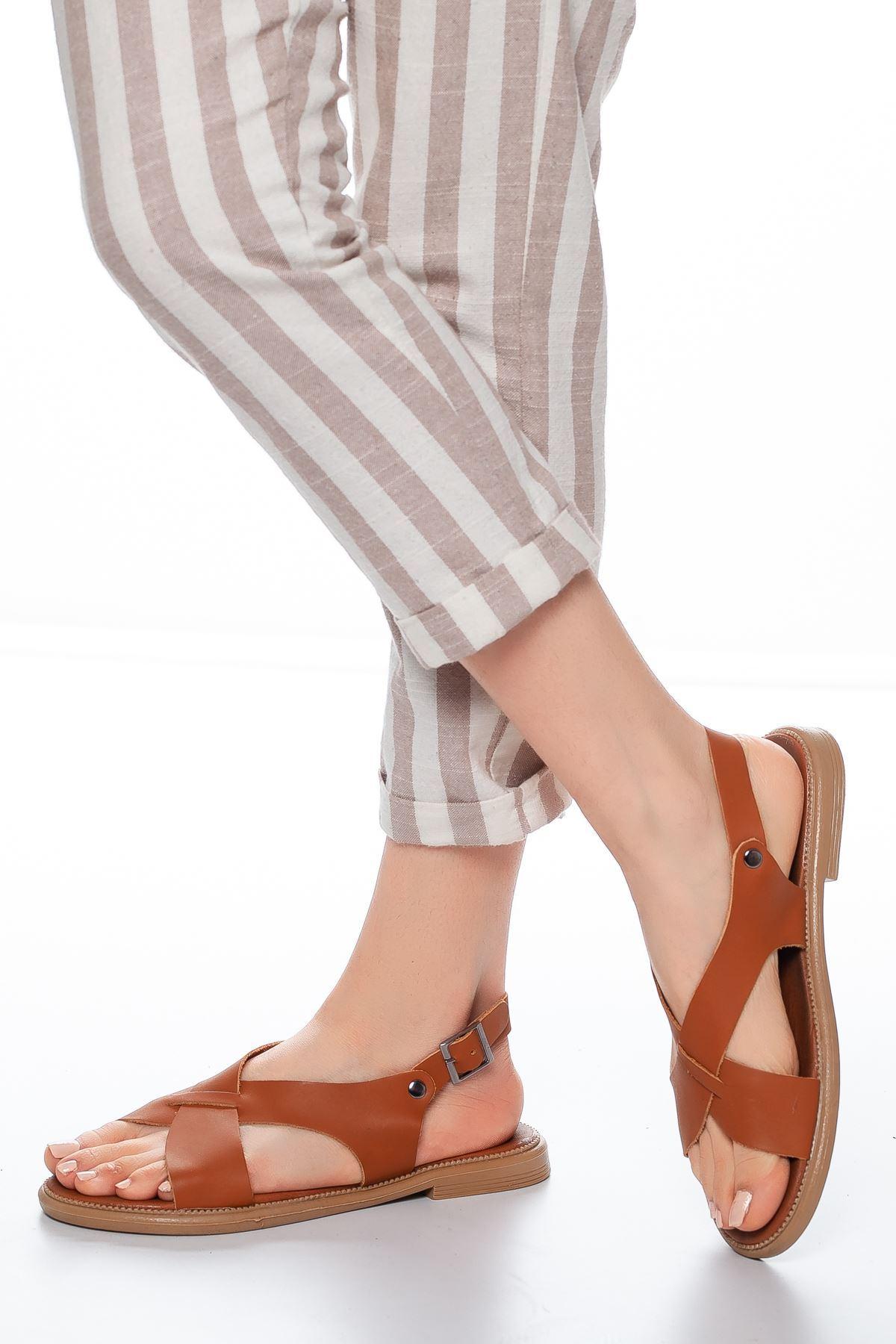 Landi Deri Sandalet Taba