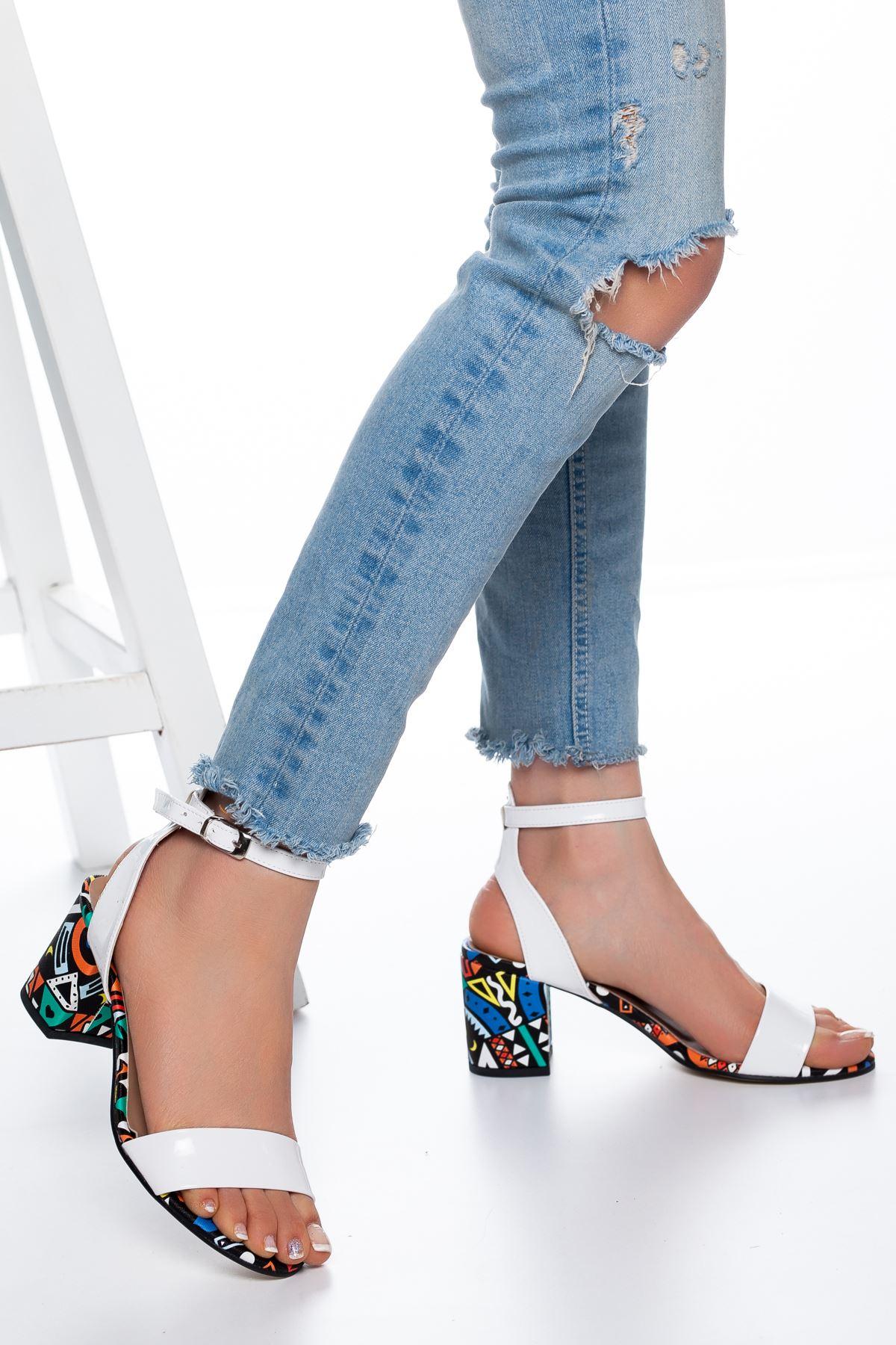Panama Rugan Topuklu Ayakkabı Beyaz