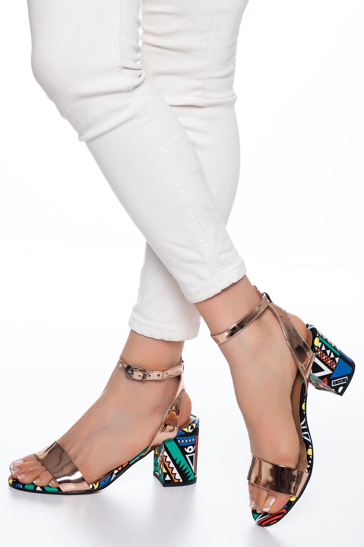 Panama Rugan Topuklu Ayakkabı Gold