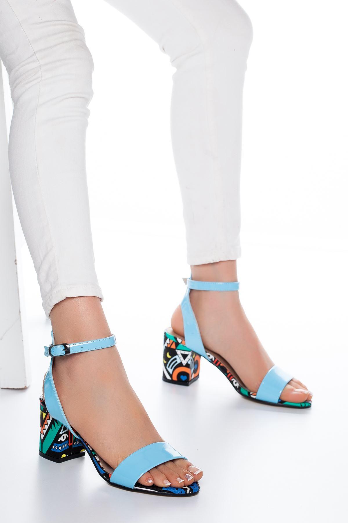 Panama Rugan Topuklu Ayakkabı Bebe Mavisi