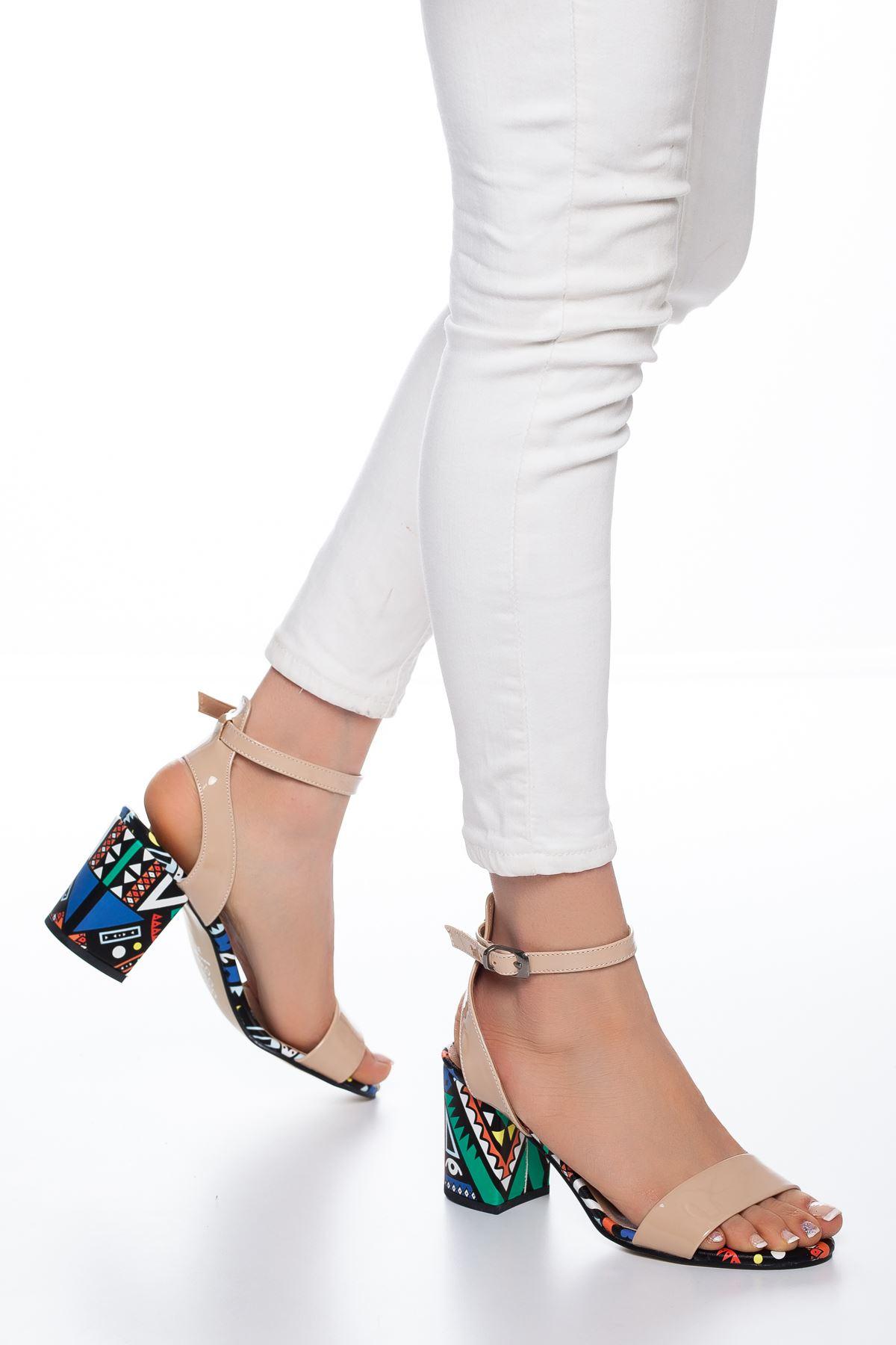Panama Rugan Topuklu Ayakkabı Ten