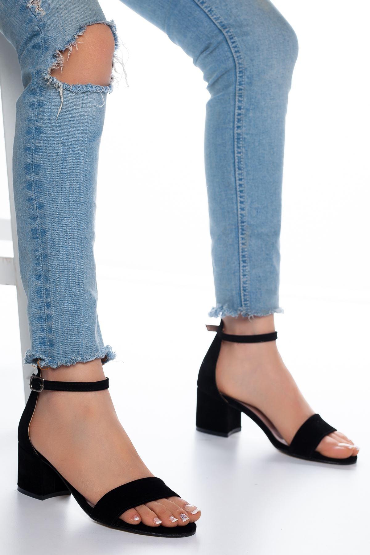 Lala Süet Topuklu Ayakkabı Siyah