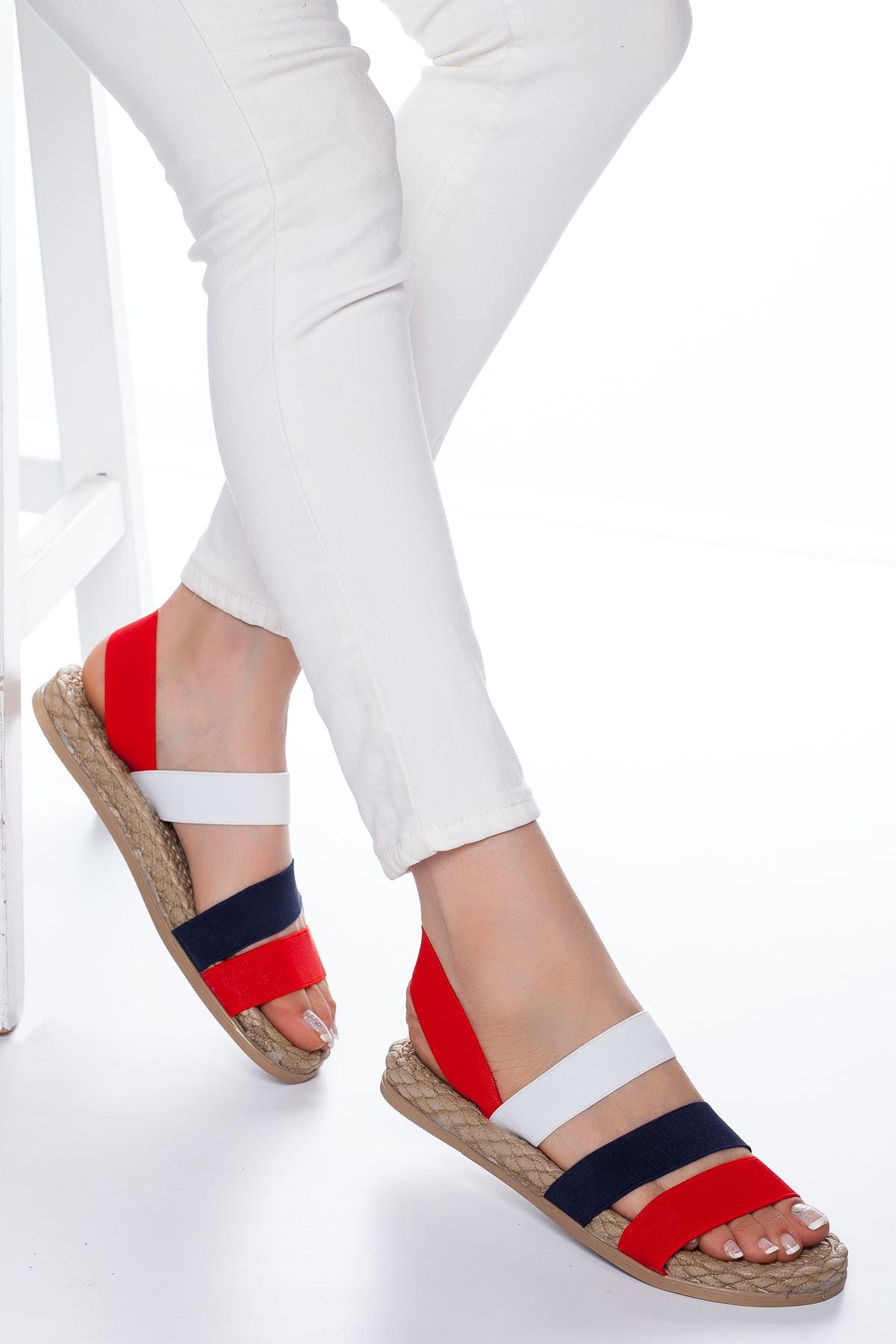 Lorena Lastikli Sandalet Kırmızı