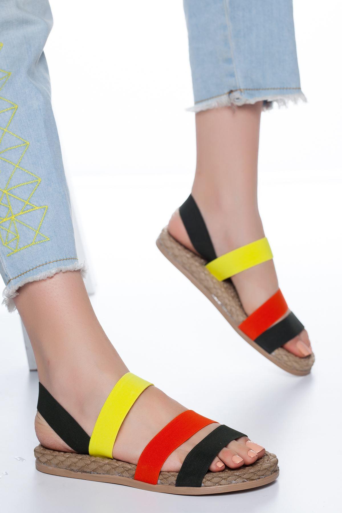 Lorena Lastikli Sandalet Siyah