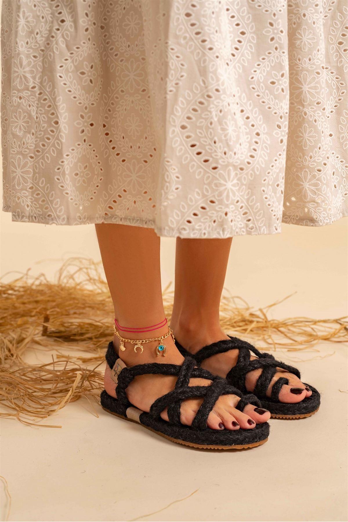 Vivo Organik Hasır Sandalet Siyah