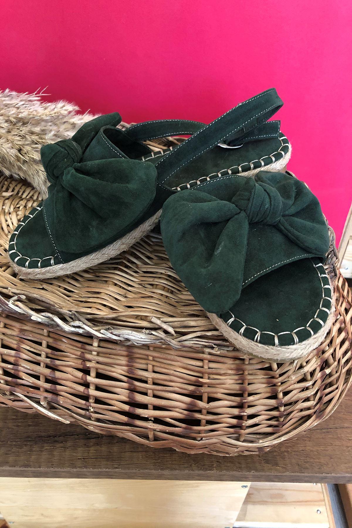 Desperado Fiyonklu Mat Sandalet Yeşil