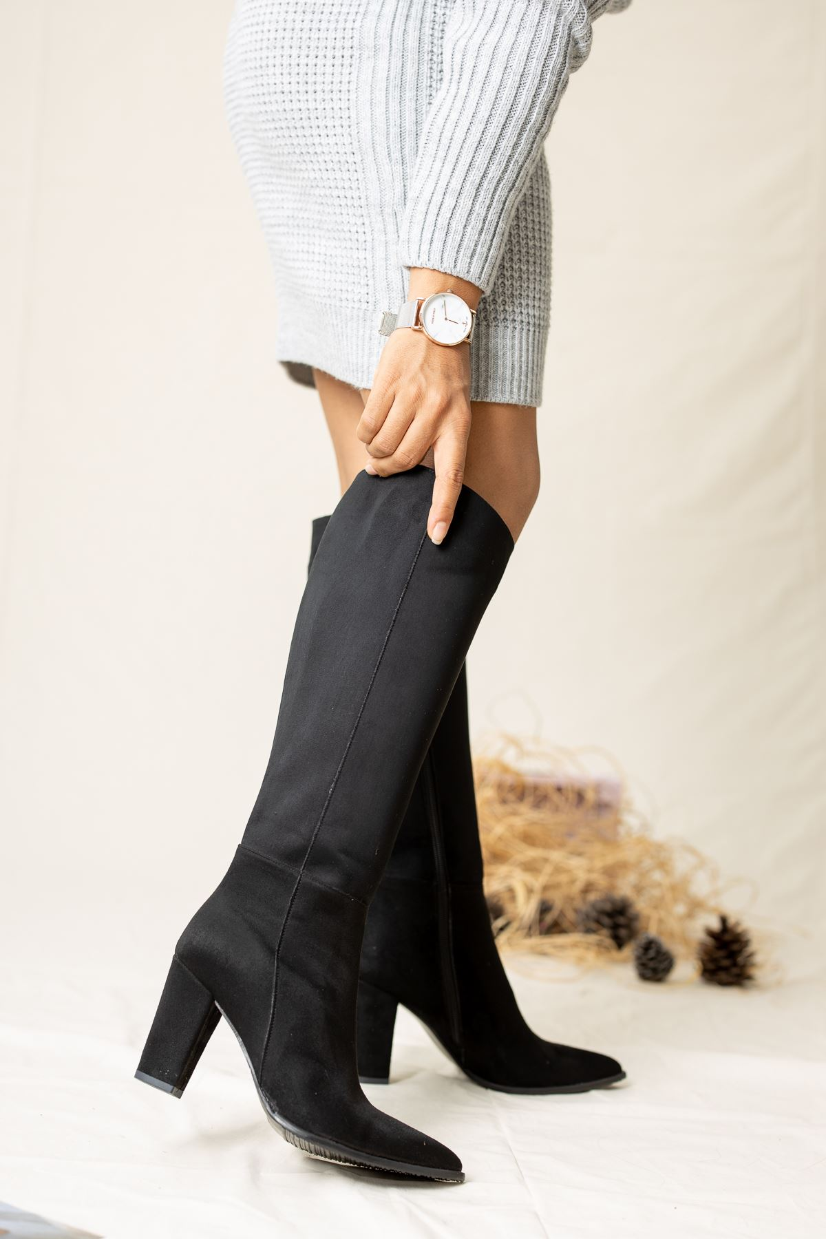 Bambo Süet Çizme Siyah
