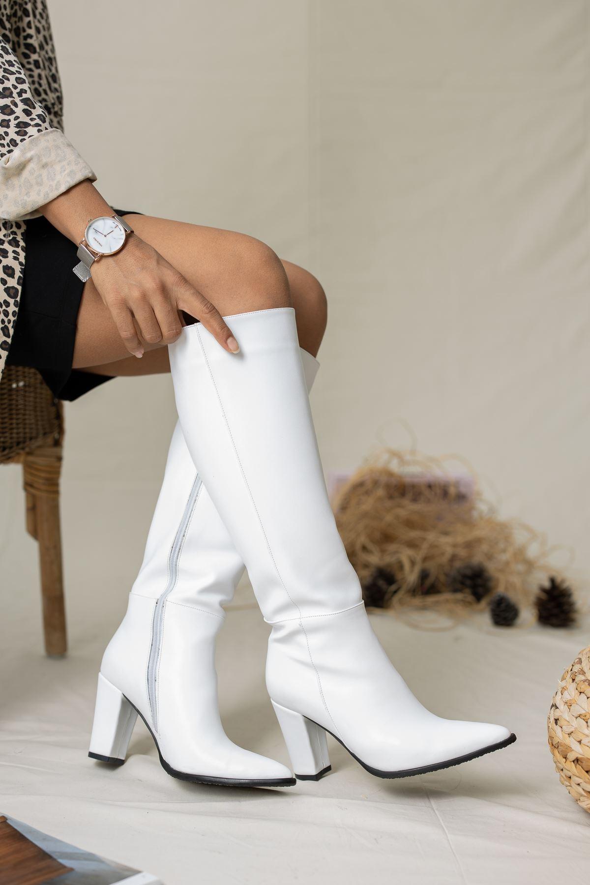 Bambo Deri Çizme Beyaz