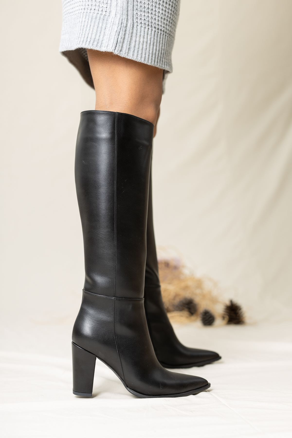 Bambo Deri Çizme Siyah