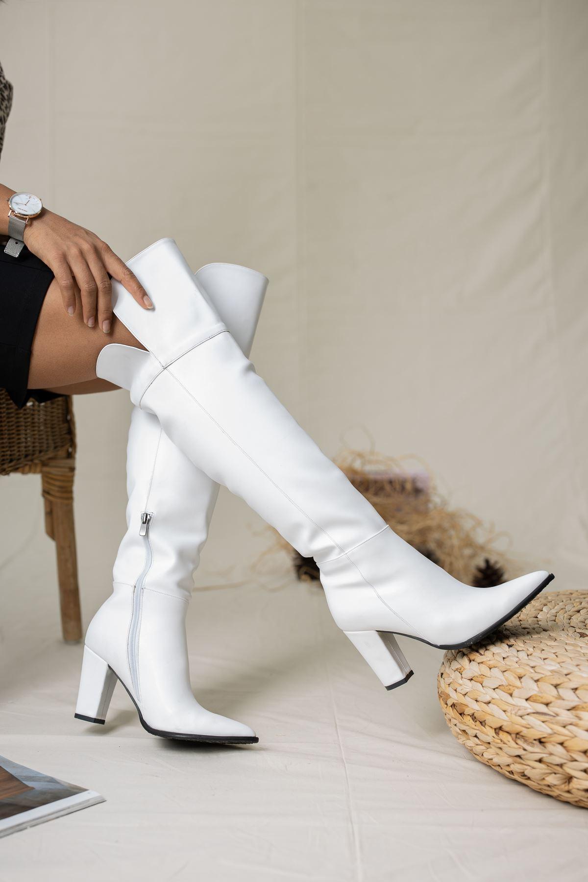 Ester Deri Çizme Beyaz