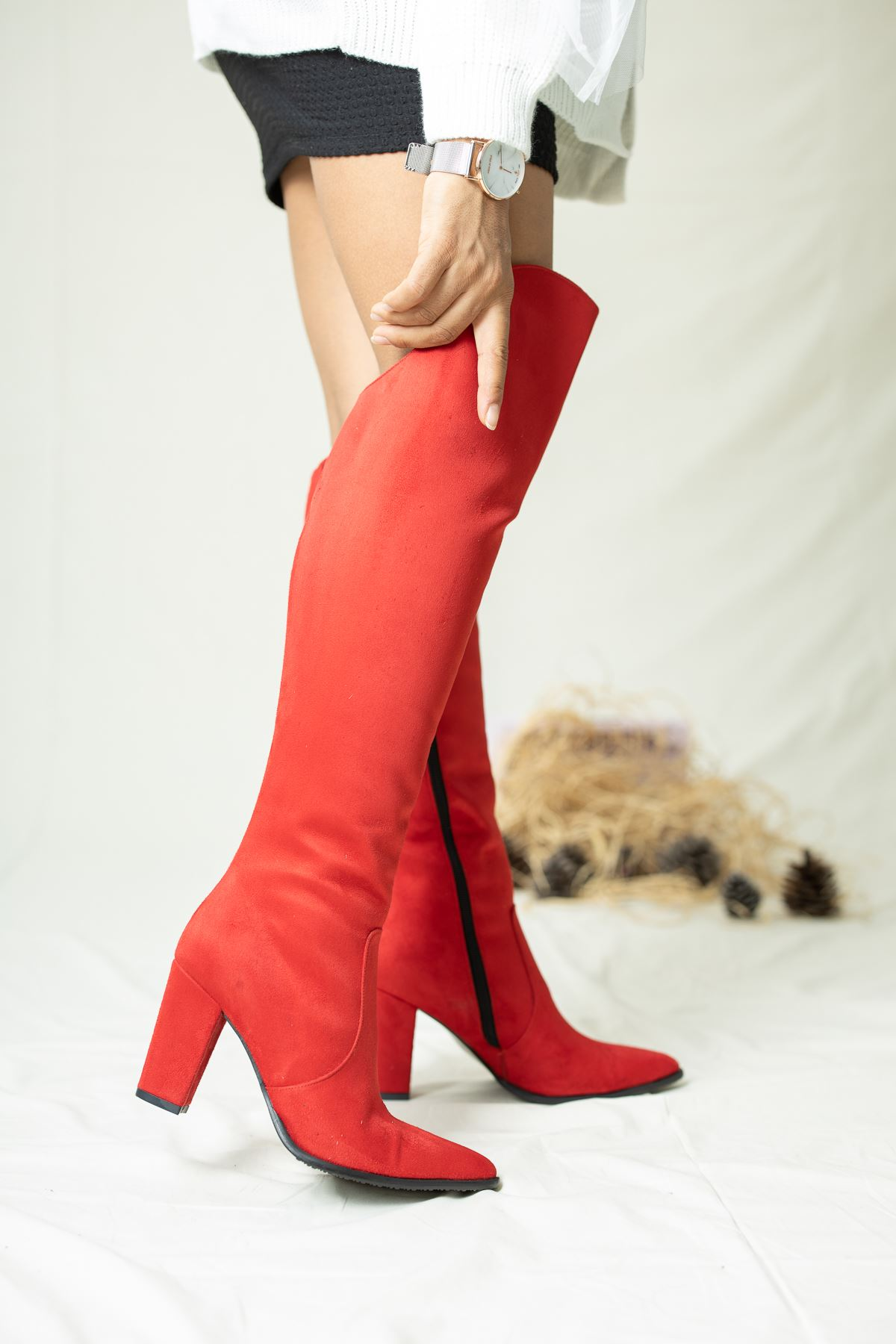 Suvla Süet Çizme Kırmızı