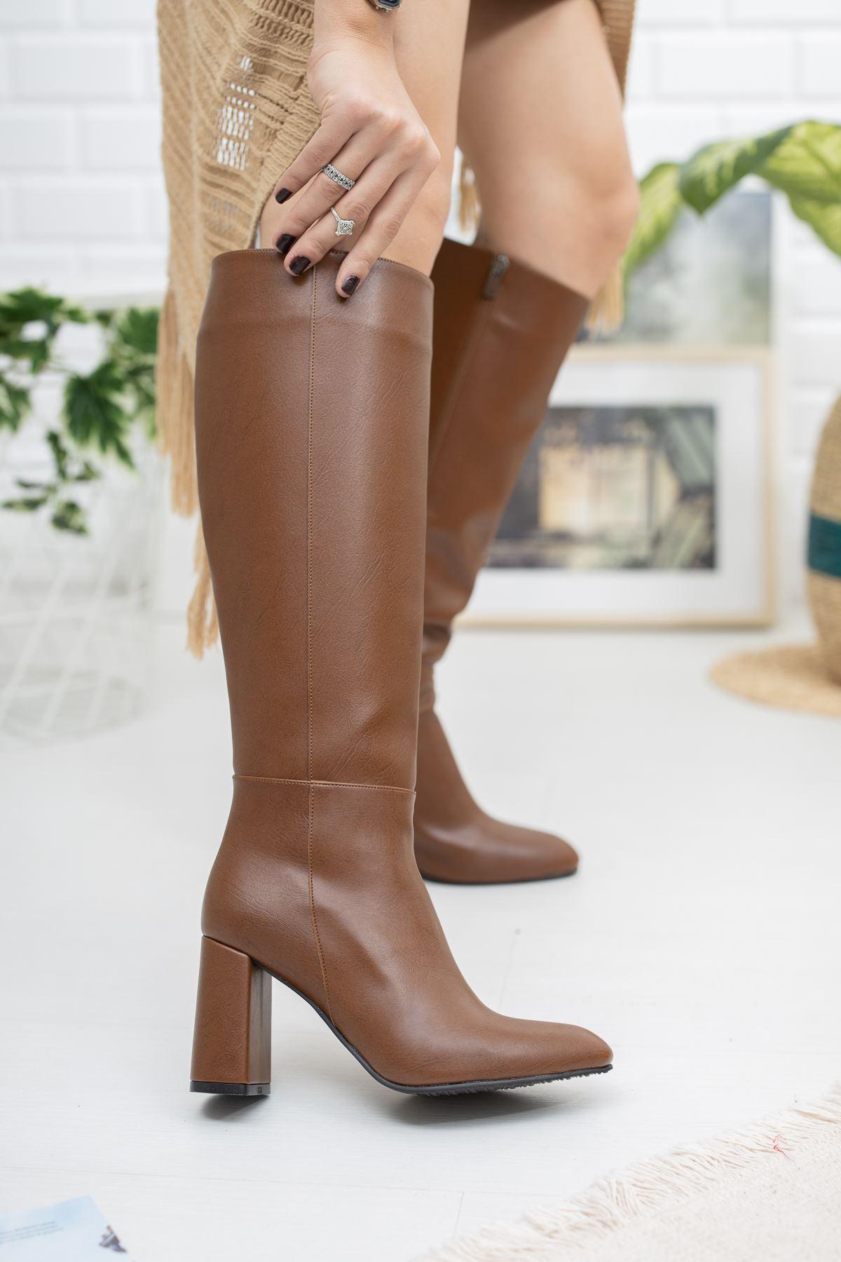 Horse Deri Çizme Taba