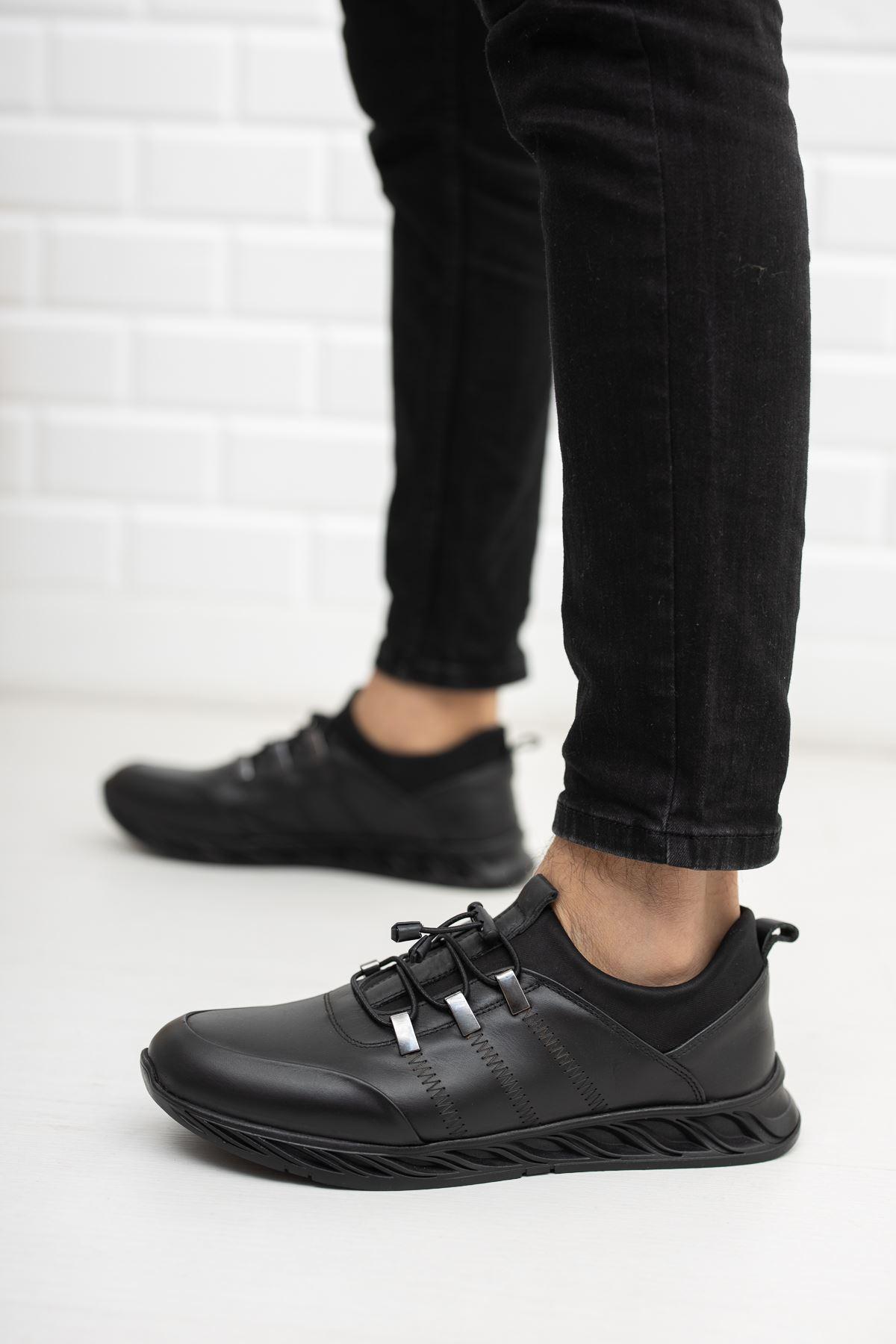 Hakiki Deri Spor Ayakkabı Siyah