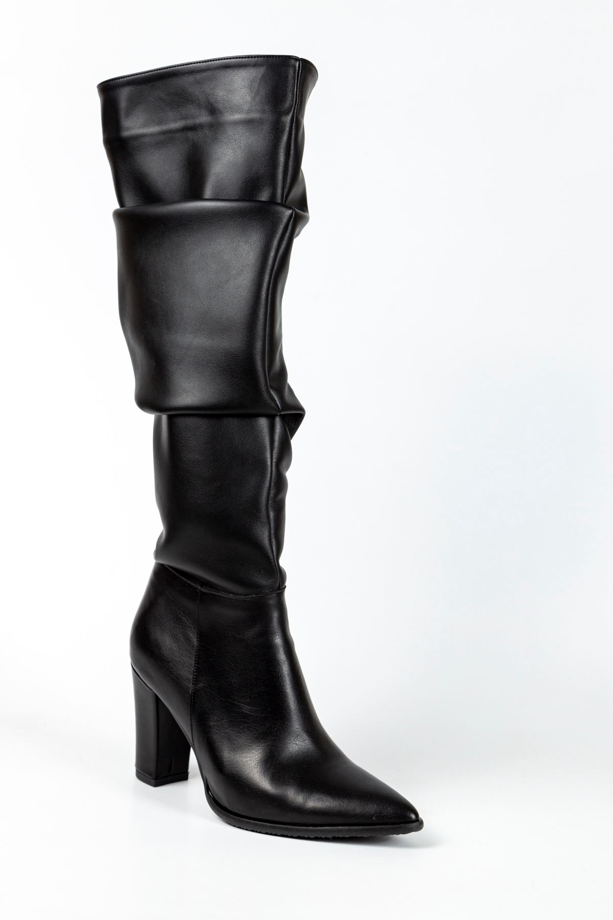 Sandra Körüklü Deri Çizme Siyah