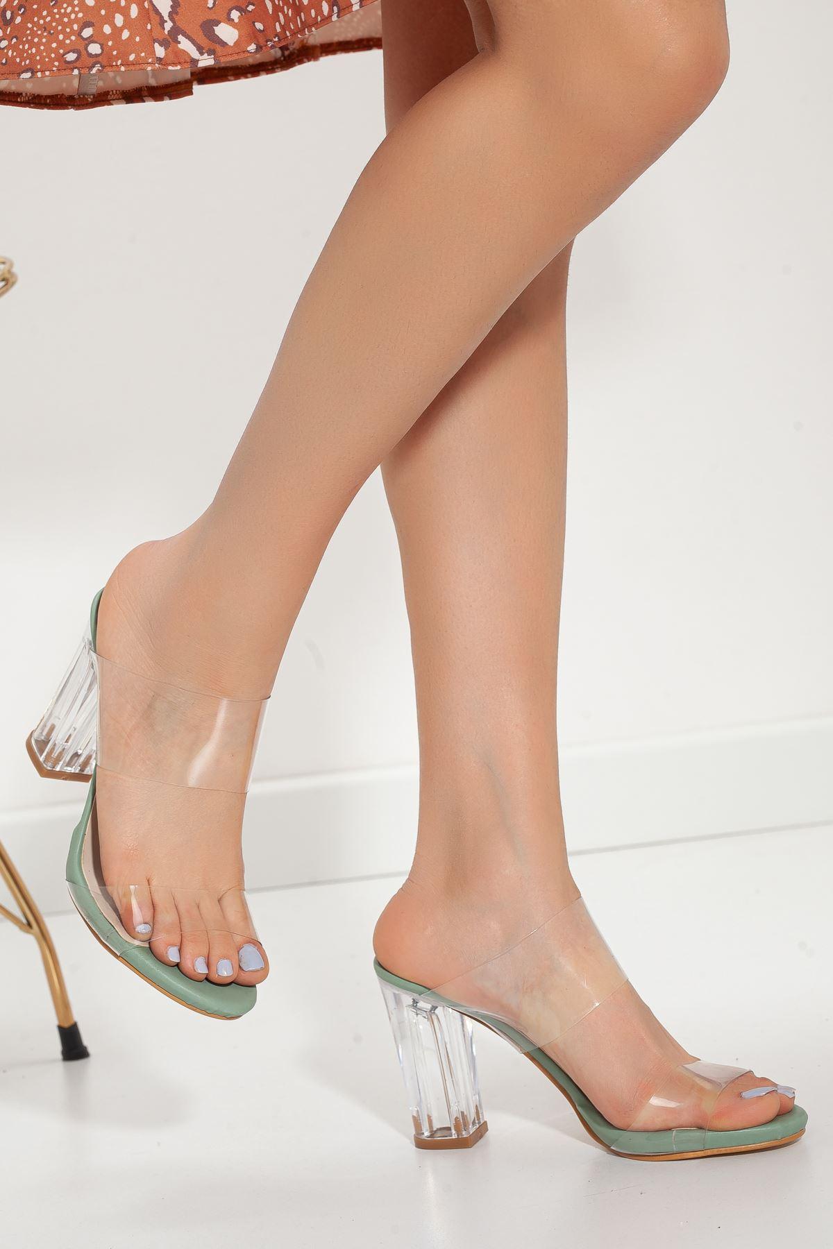 Felis Şeffaf Bantlı topuklu ayakkabı Su Yeşili