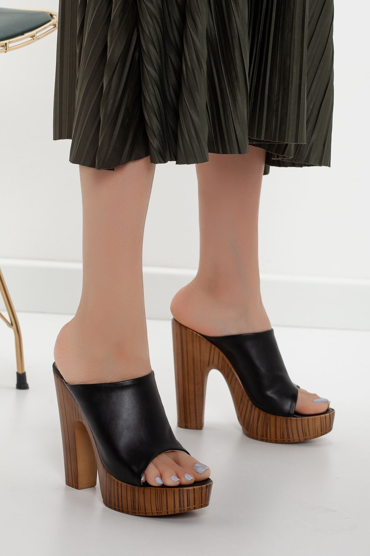 la notte platform topuklu cilt ayakkabı Siyah