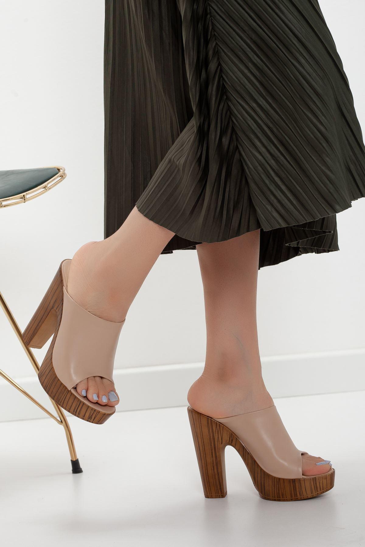 la notte platform topuklu cilt ayakkabı Ten