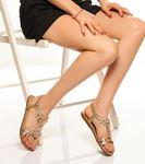 Diana Bilekten Bağlamalı Taşlı Sandalet Gold