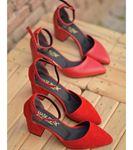 Lisa Topuklu Süet Ayakkabı Kırmızı